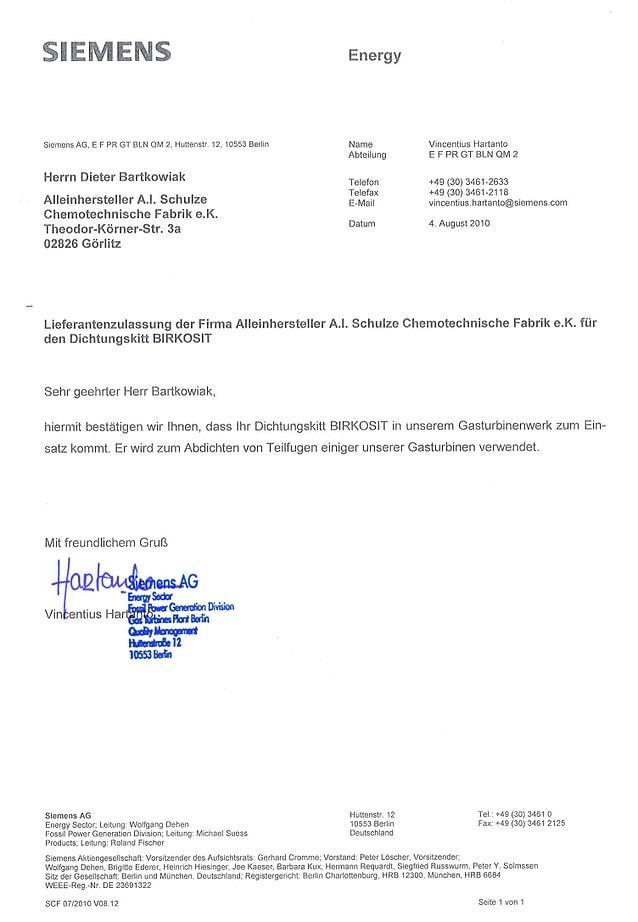Einsatzbestätigung Siemens AG Gasturbinen BIRKOSIT